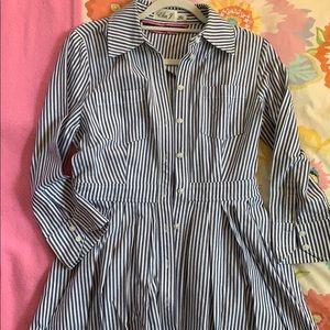 Eliza J Fit and Flare Striped Shirt Dress